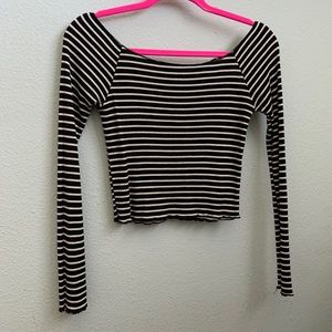Brandy Melville black and white striped top!